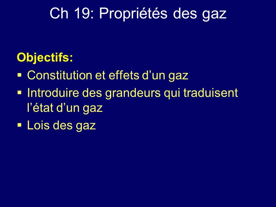 Ch 19: Propriétés des gaz Objectifs:  Constitution et effets d'un gaz  Introduire des grandeurs qui traduisent l'état d'un gaz  Lois des gaz