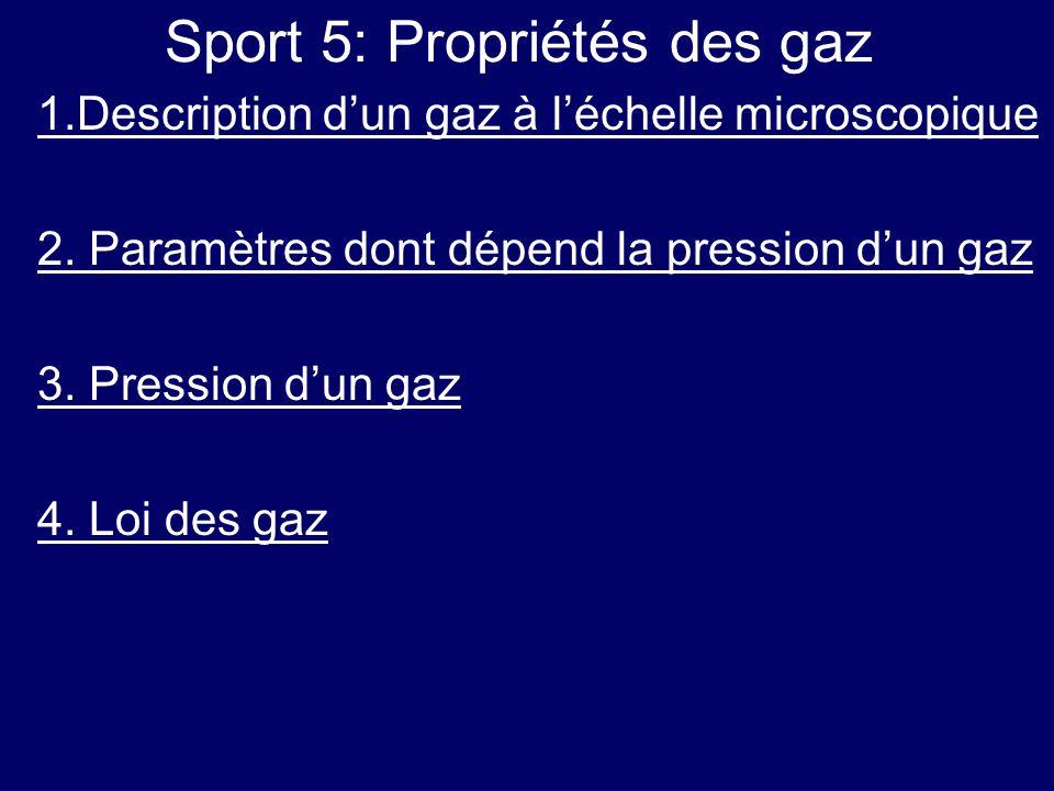 Sport 5: Propriétés des gaz 1.Description d'un gaz à l'échelle microscopique 2. Paramètres dont dépend la pression d'un gaz 3. Pression d'un gaz 4. Lo