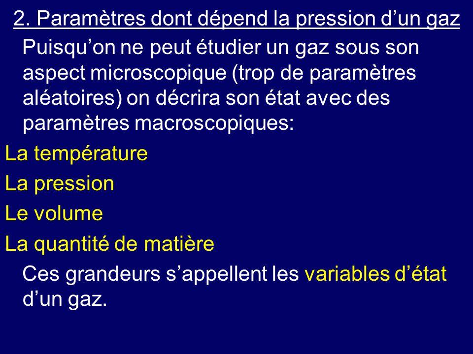 2. Paramètres dont dépend la pression d'un gaz Puisqu'on ne peut étudier un gaz sous son aspect microscopique (trop de paramètres aléatoires) on décri