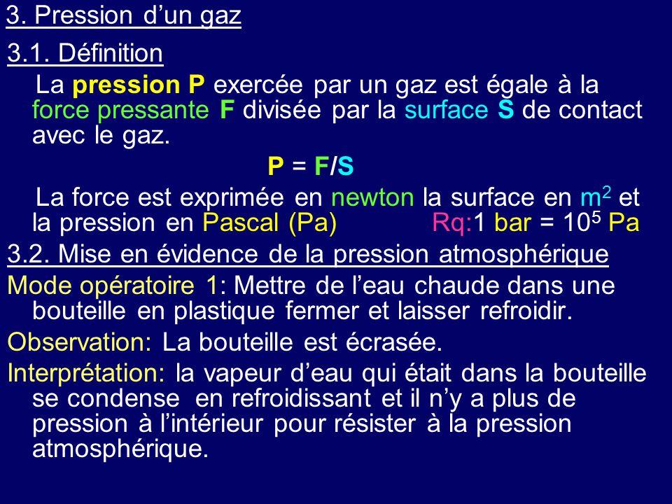3. Pression d'un gaz 3.1. Définition La pression P exercée par un gaz est égale à la force pressante F divisée par la surface S de contact avec le gaz