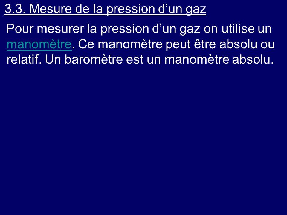 3.3. Mesure de la pression d'un gaz Pour mesurer la pression d'un gaz on utilise un manomètre. Ce manomètre peut être absolu ou relatif. Un baromètre