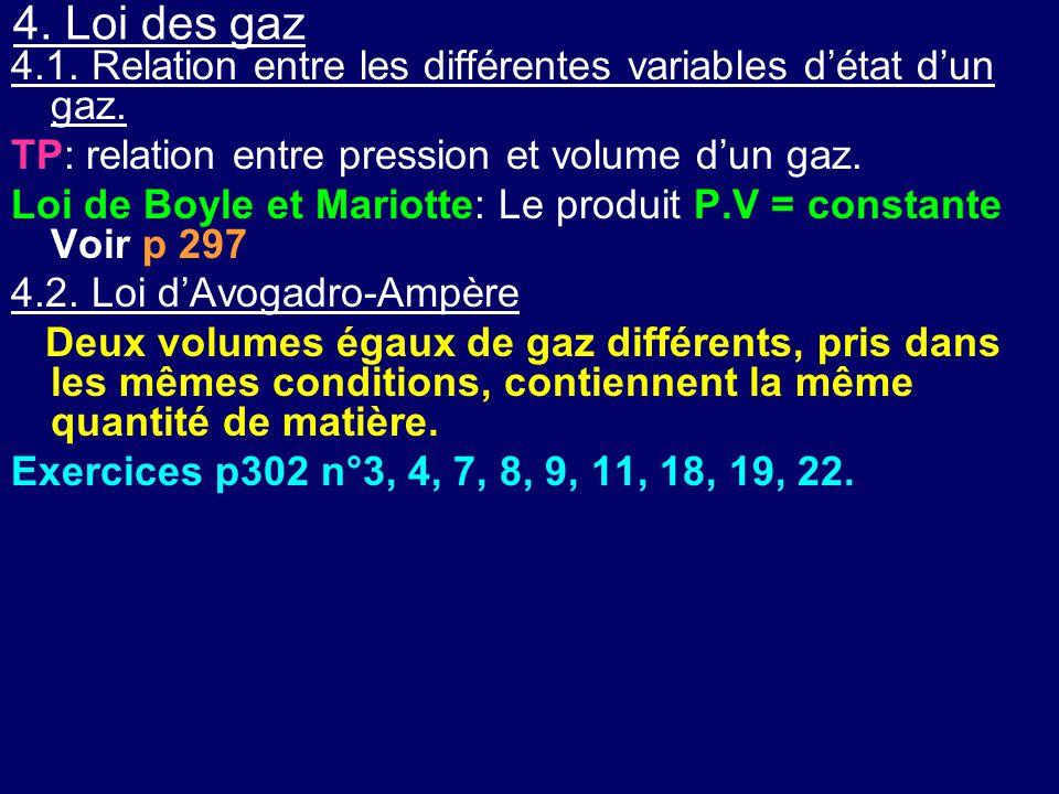 4. Loi des gaz 4.1. Relation entre les différentes variables d'état d'un gaz. TP: relation entre pression et volume d'un gaz. Loi de Boyle et Mariotte