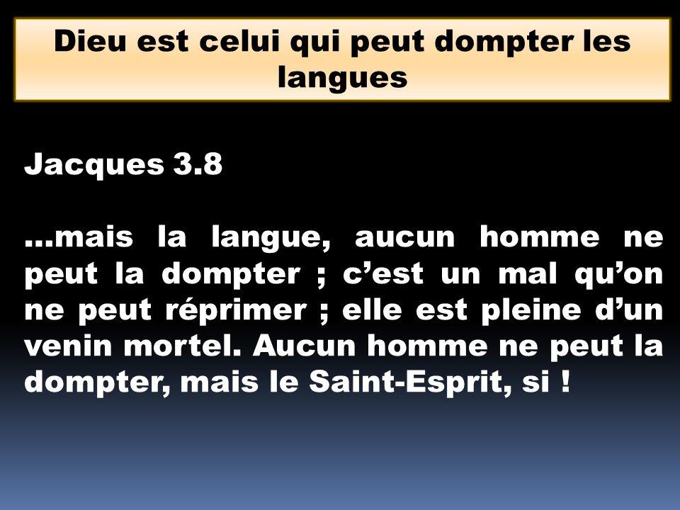 Dieu est celui qui peut dompter les langues Jacques 3.8 …mais la langue, aucun homme ne peut la dompter ; c'est un mal qu'on ne peut réprimer ; elle e
