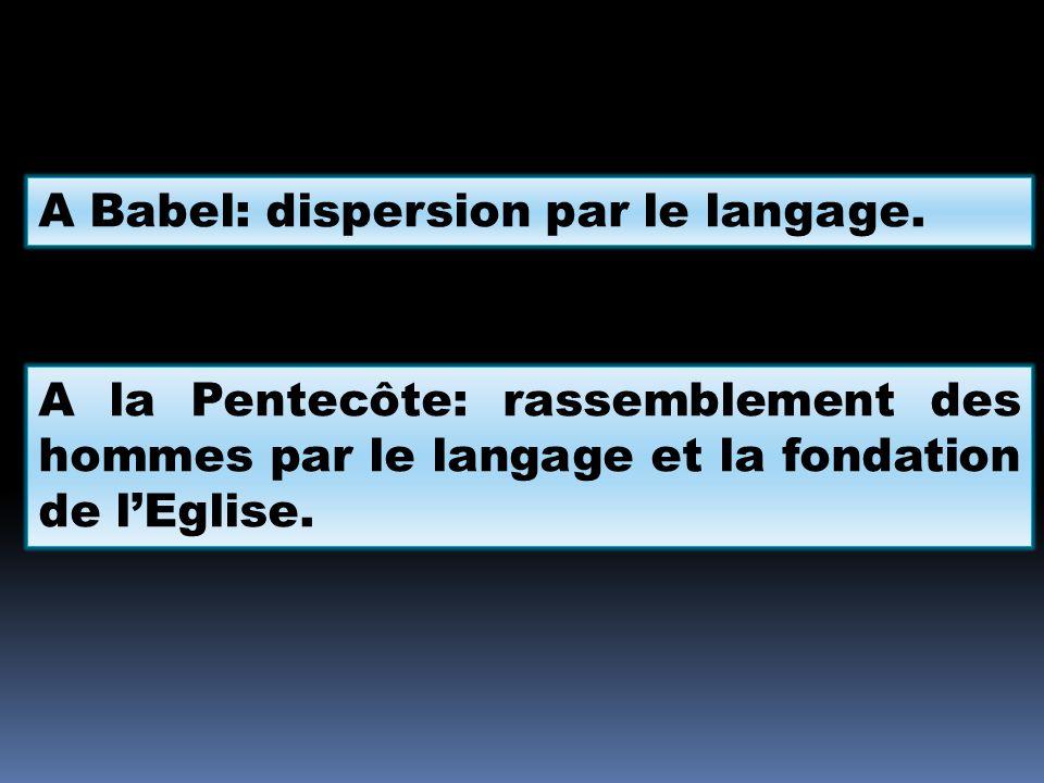 A Babel: dispersion par le langage. A la Pentecôte: rassemblement des hommes par le langage et la fondation de l'Eglise.