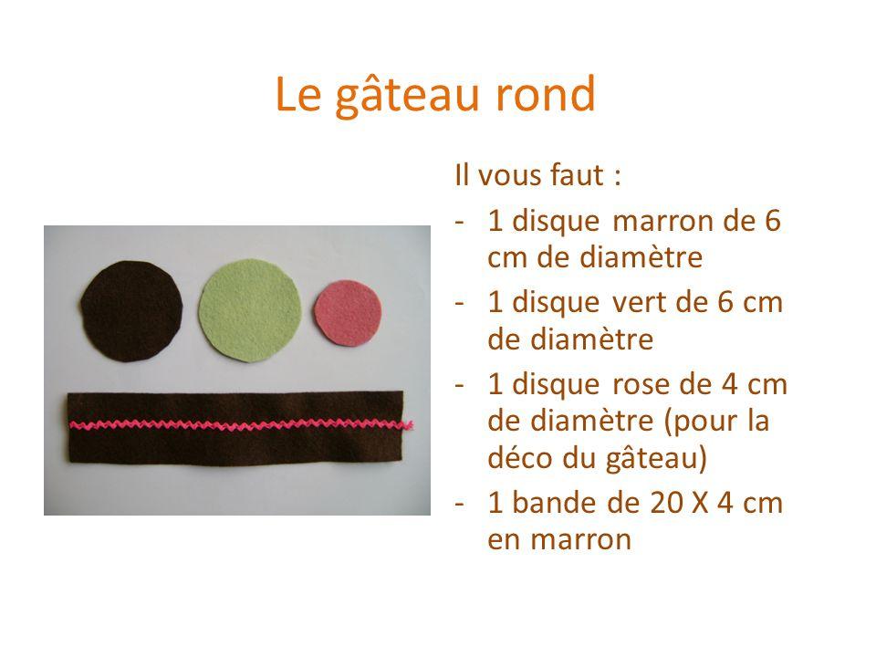 Le gâteau rond Il vous faut : -1 disque marron de 6 cm de diamètre -1 disque vert de 6 cm de diamètre -1 disque rose de 4 cm de diamètre (pour la déco