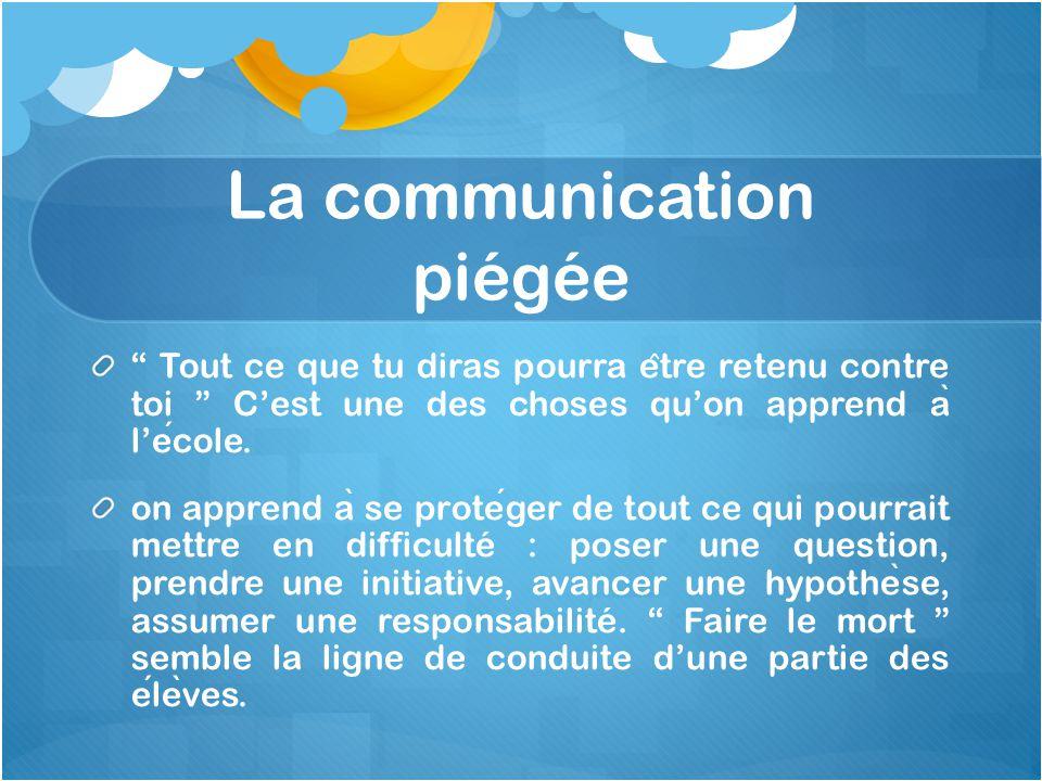 """La communication piégée """" Tout ce que tu diras pourra e ̂ tre retenu contre toi """" C'est une des choses qu'on apprend a ̀ l'ecole. on apprend a ̀ se pr"""