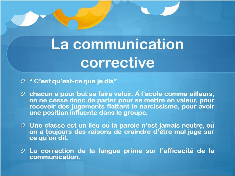 """La communication corrective """" C'est qu'est-ce que je dis"""" chacun a pour but se faire valoir. A ̀ l'ecole comme ailleurs, on ne cesse donc de parler po"""