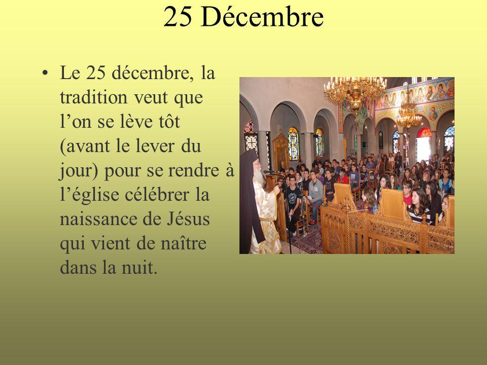 25 Décembre Le 25 décembre, la tradition veut que l'on se lève tôt (avant le lever du jour) pour se rendre à l'église célébrer la naissance de Jésus q