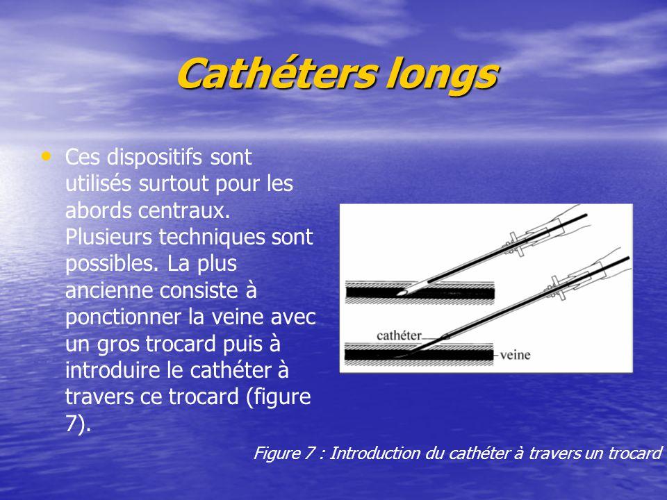 Cathéters longs Ces dispositifs sont utilisés surtout pour les abords centraux. Plusieurs techniques sont possibles. La plus ancienne consiste à ponct