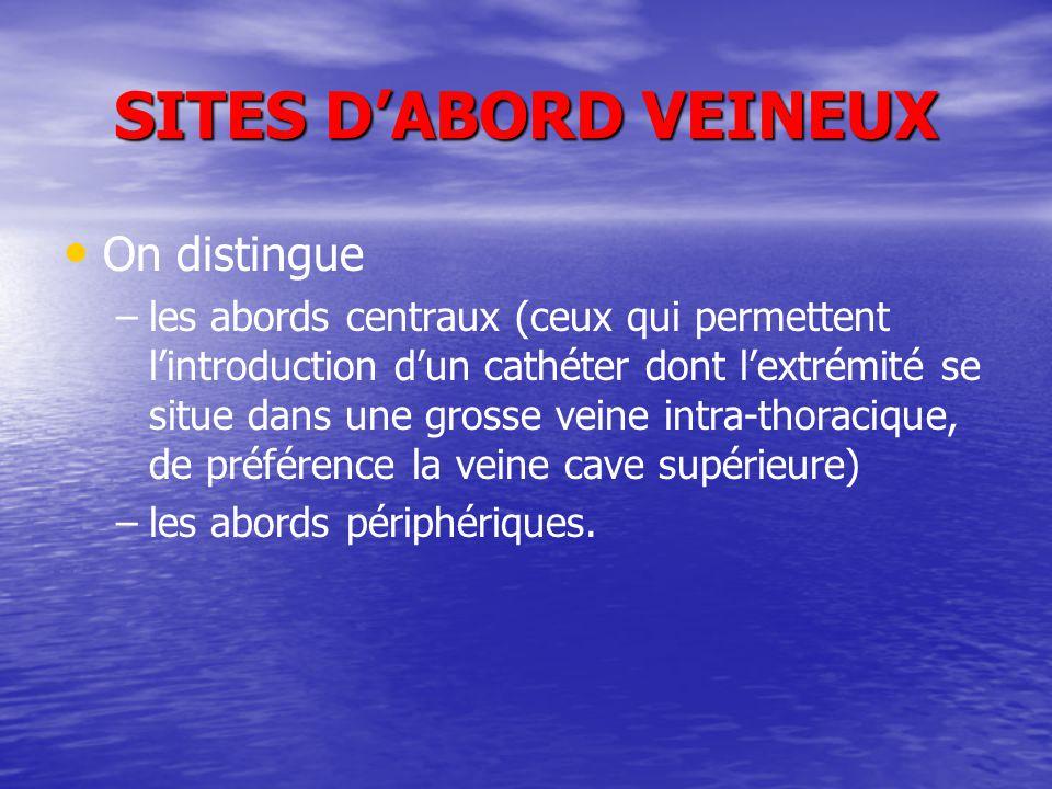 SITES D'ABORD VEINEUX On distingue – –les abords centraux (ceux qui permettent l'introduction d'un cathéter dont l'extrémité se situe dans une grosse