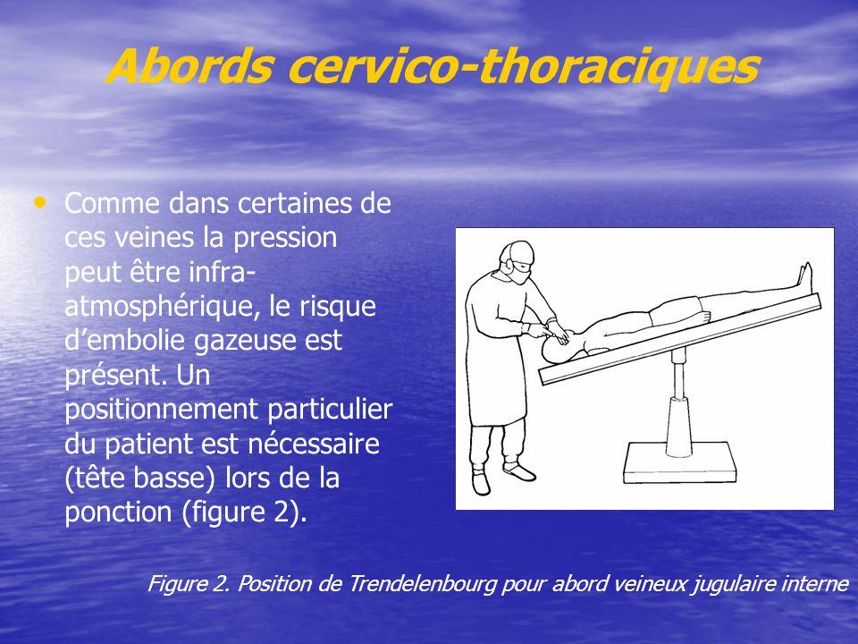 Abords cervico-thoraciques Comme dans certaines de ces veines la pression peut être infra- atmosphérique, le risque d'embolie gazeuse est présent. Un