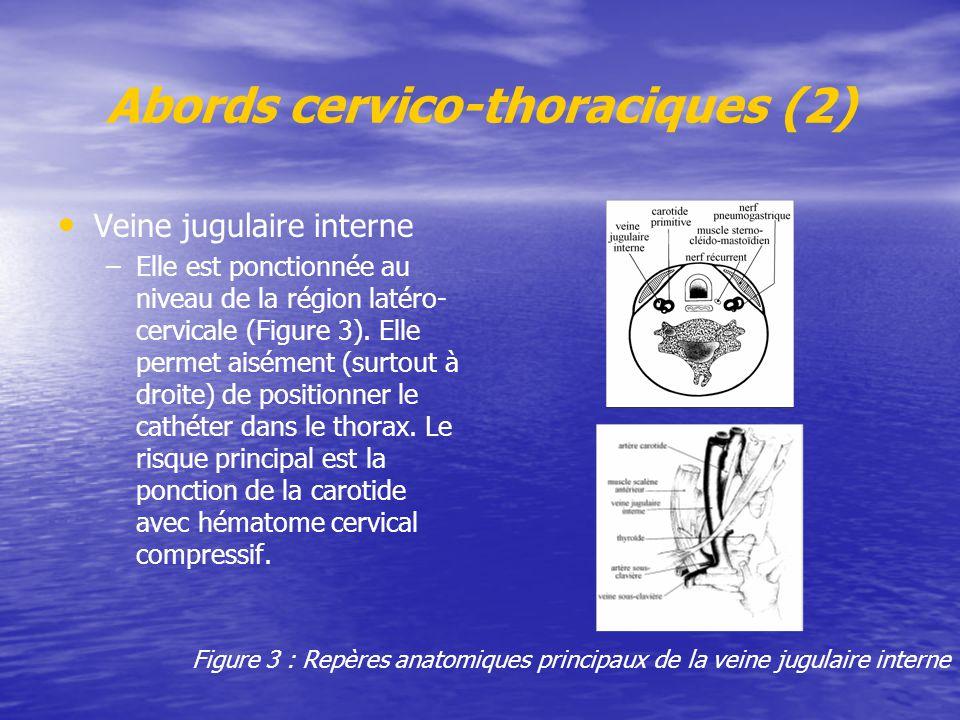 Abords cervico-thoraciques (2) Veine jugulaire interne – –Elle est ponctionnée au niveau de la région latéro- cervicale (Figure 3). Elle permet aiséme