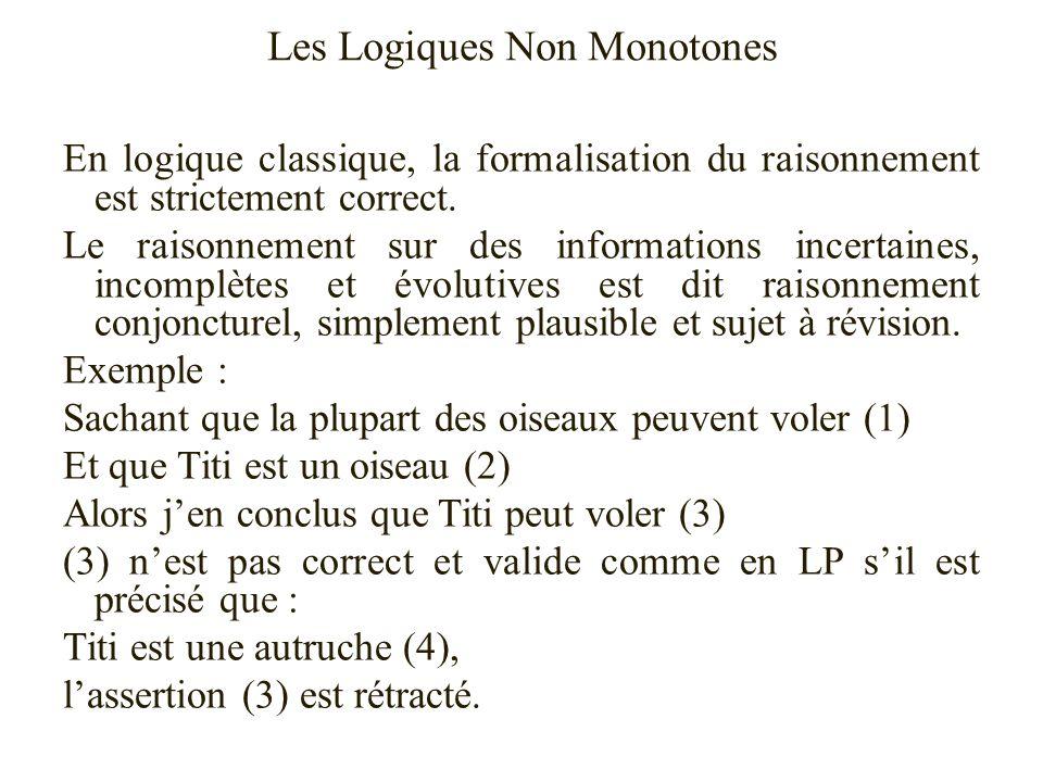 Les Logiques Non Monotones En logique classique, la formalisation du raisonnement est strictement correct. Le raisonnement sur des informations incert