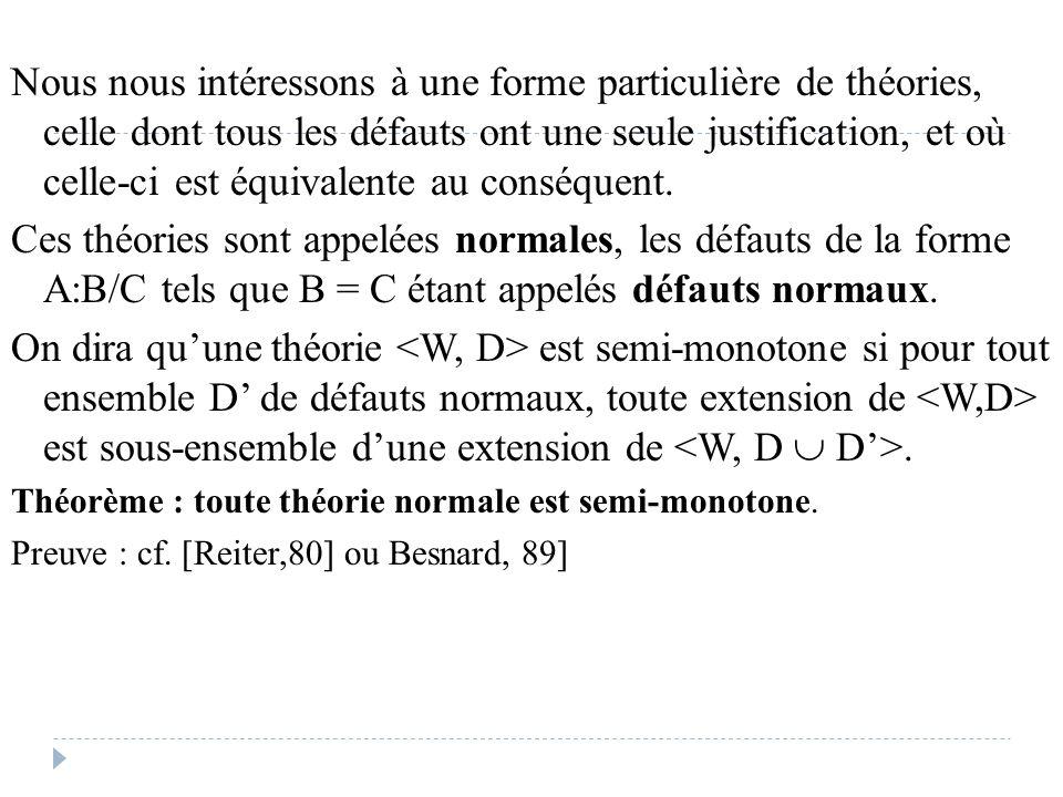 Nous nous intéressons à une forme particulière de théories, celle dont tous les défauts ont une seule justification, et où celle-ci est équivalente au