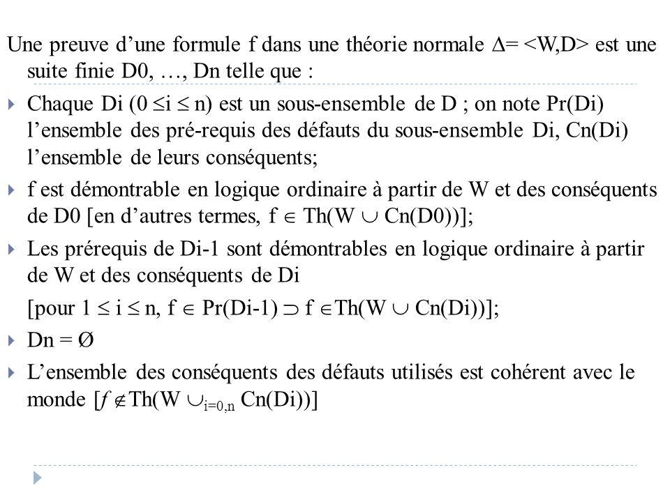 Une preuve d'une formule f dans une théorie normale  = est une suite finie D0, …, Dn telle que :  Chaque Di (0  i  n) est un sous-ensemble de D ;
