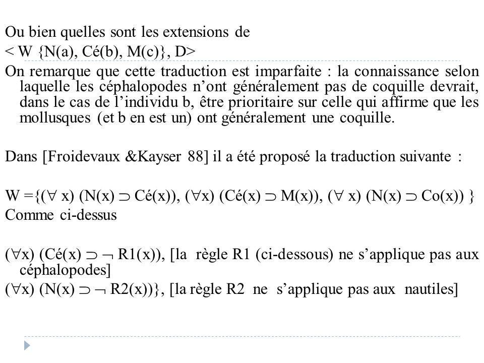 Ou bien quelles sont les extensions de On remarque que cette traduction est imparfaite : la connaissance selon laquelle les céphalopodes n'ont général