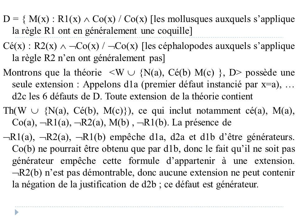 D = { M(x) : R1(x)  Co(x) / Co(x) [les mollusques auxquels s'applique la règle R1 ont en généralement une coquille] Cé(x) : R2(x)   Co(x) /  Co(x)