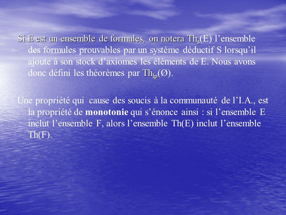 On constate que parmi les conclusions attendues (a et c portent une coquille, b n'en porte pas), seule la première est démontrable : en effet, Coa est vrai dans tous les modèles – le théorème de complétude assure alors que Coa est démontrable -, et comme il existe des modèles où Coc est faux, Coc n'est pas démontrable (s'il l'était, d'après le théorème de correction, Coc serait vrai dans tous les modèles); Même chose pour  Coc La première traduction est inutilisable, puisque d'un système incohérent, on peut tirer n'importe quelle conclusion; La deuxième, plus satisfaisante, est cependant peu utile puisqu'elle ne permet pas d'obtenir toutes les conclusions souhaitées