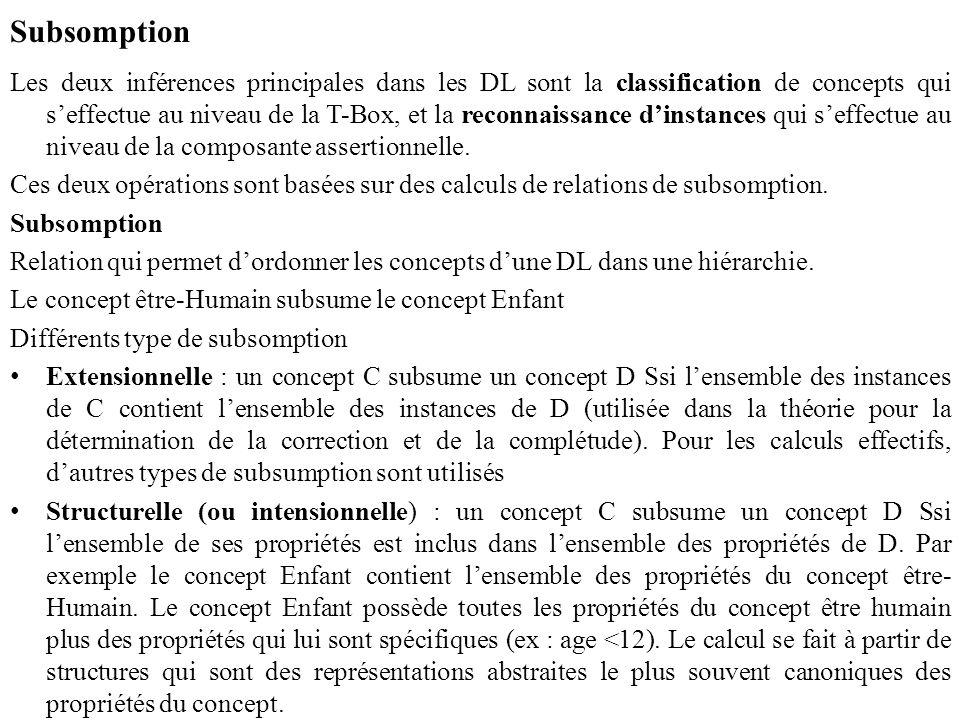 Subsomption Les deux inférences principales dans les DL sont la classification de concepts qui s'effectue au niveau de la T-Box, et la reconnaissance d'instances qui s'effectue au niveau de la composante assertionnelle.