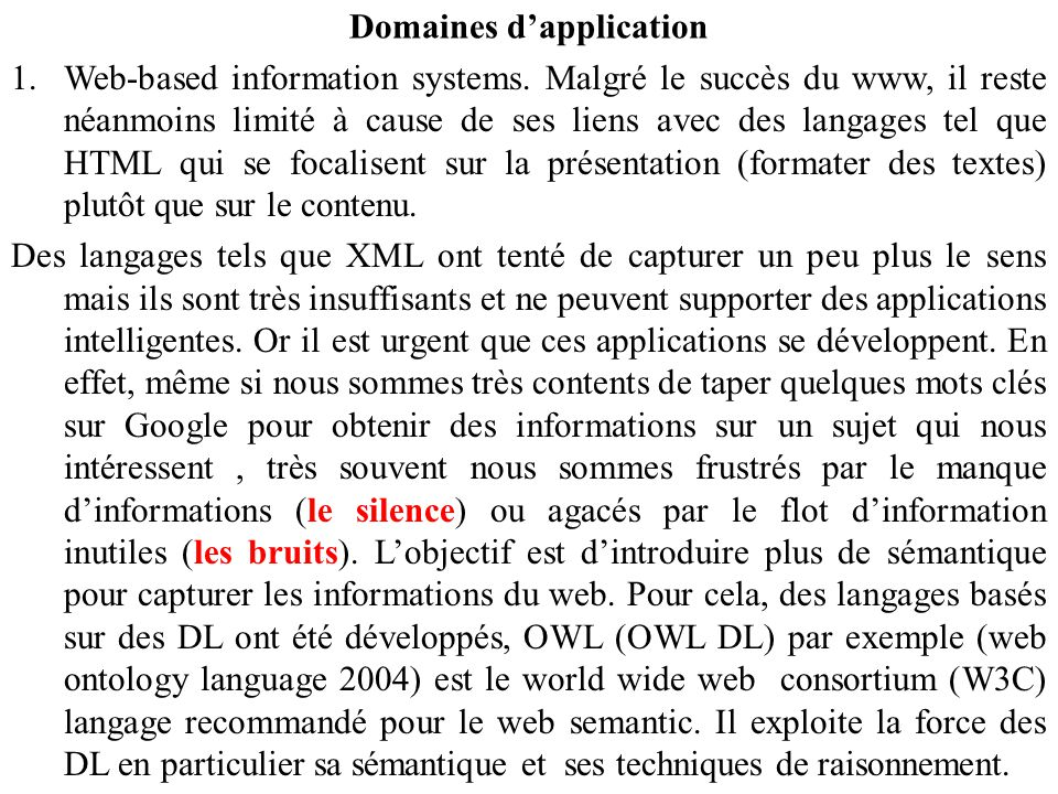 Domaines d'application 1.Web-based information systems.