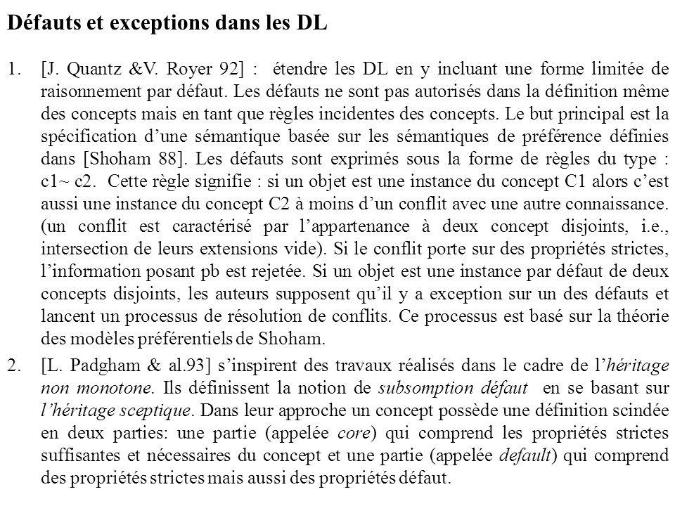 Défauts et exceptions dans les DL 1.[J. Quantz &V. Royer 92] : étendre les DL en y incluant une forme limitée de raisonnement par défaut. Les défauts