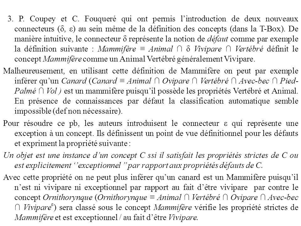 3. P. Coupey et C. Fouqueré qui ont permis l'introduction de deux nouveaux connecteurs (δ, ε) au sein même de la définition des concepts (dans la T-Bo