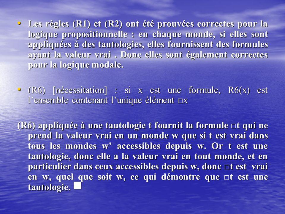 Les règles (R1) et (R2) ont été prouvées correctes pour la logique propositionnelle : en chaque monde, si elles sont appliquées à des tautologies, ell