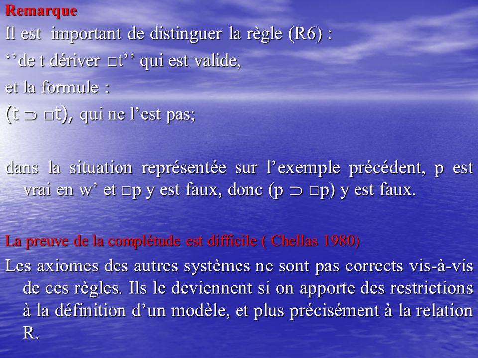 Remarque Il est important de distinguer la règle (R6) : ''de t dériver □t'' qui est valide, et la formule : (t  □ t), qui ne l'est pas; dans la situa