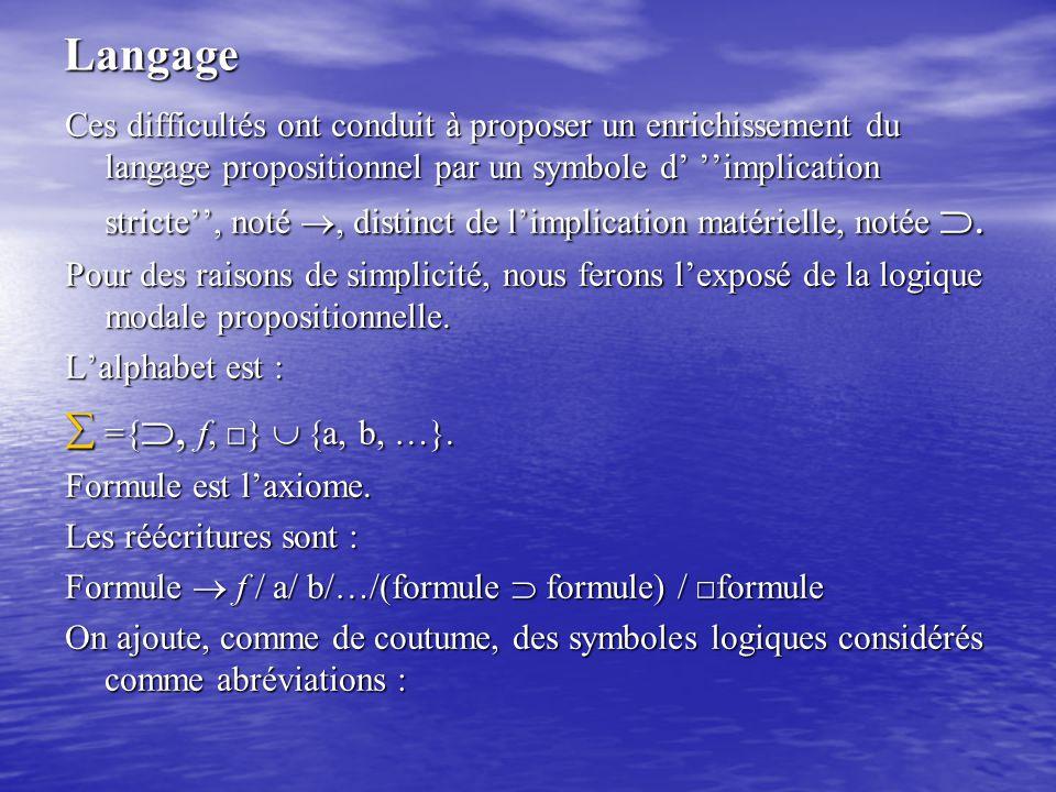 Langage Ces difficultés ont conduit à proposer un enrichissement du langage propositionnel par un symbole d' ''implication stricte'', noté  distinc