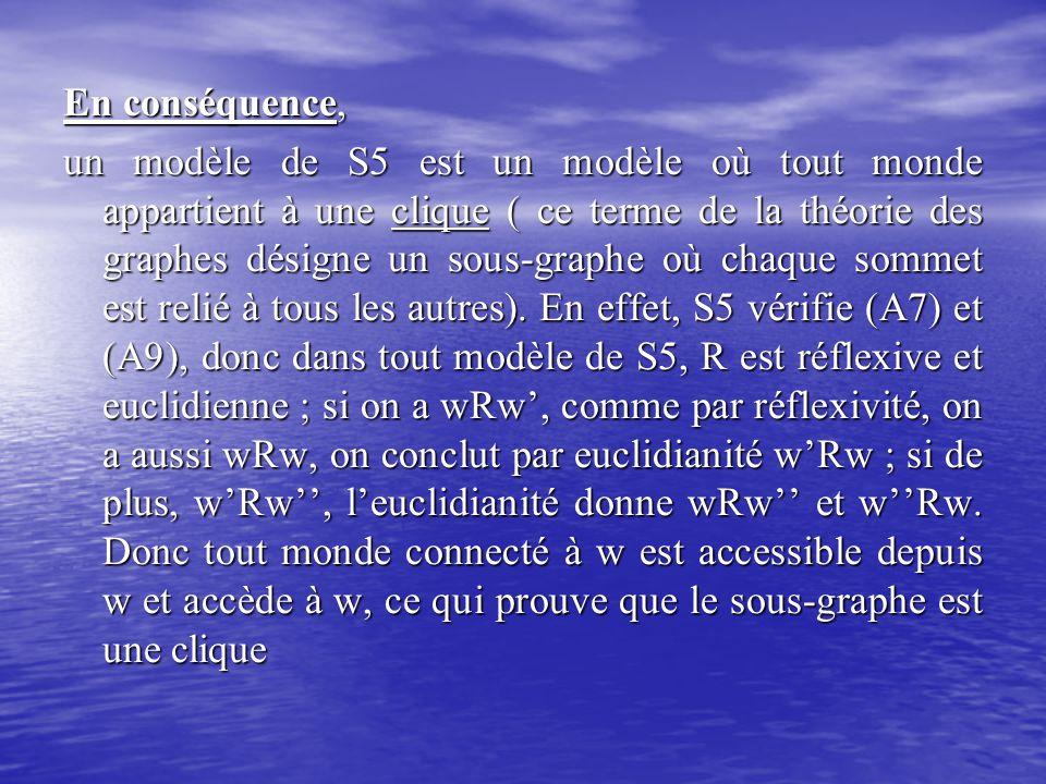 En conséquence, un modèle de S5 est un modèle où tout monde appartient à une clique ( ce terme de la théorie des graphes désigne un sous-graphe où cha