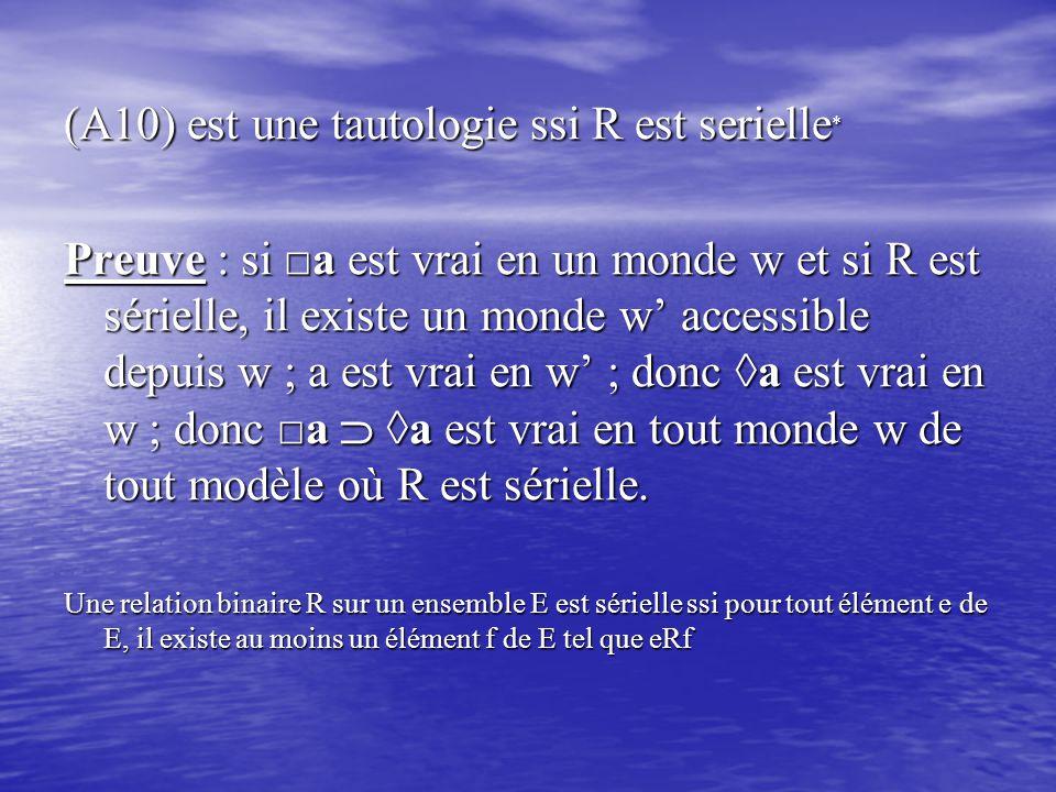 (A10) est une tautologie ssi R est serielle * Preuve : si □a est vrai en un monde w et si R est sérielle, il existe un monde w' accessible depuis w ;