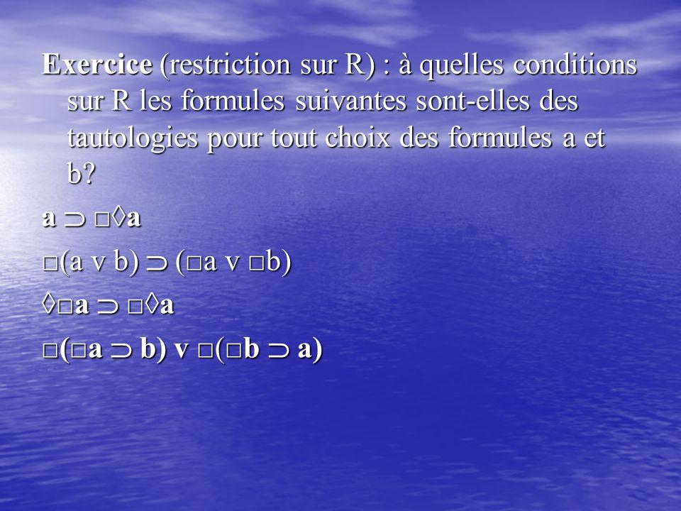 Exercice (restriction sur R) : à quelles conditions sur R les formules suivantes sont-elles des tautologies pour tout choix des formules a et b? a 