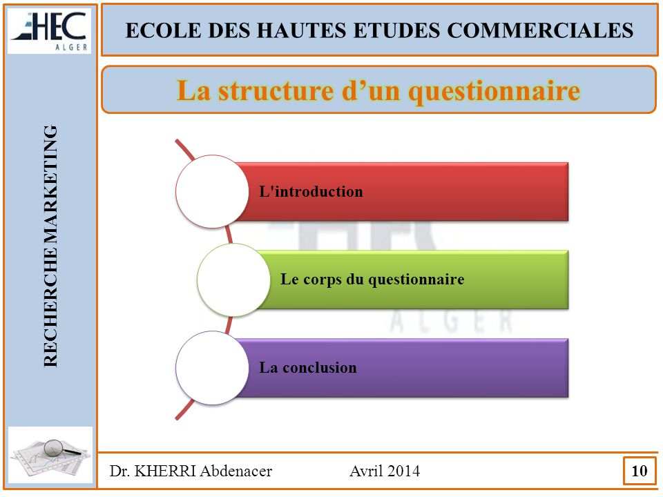 ECOLE DES HAUTES ETUDES COMMERCIALES RECHERCHE MARKETING Dr. KHERRI Abdenacer Avril 2014 10 L'introduction Le corps du questionnaire La conclusion