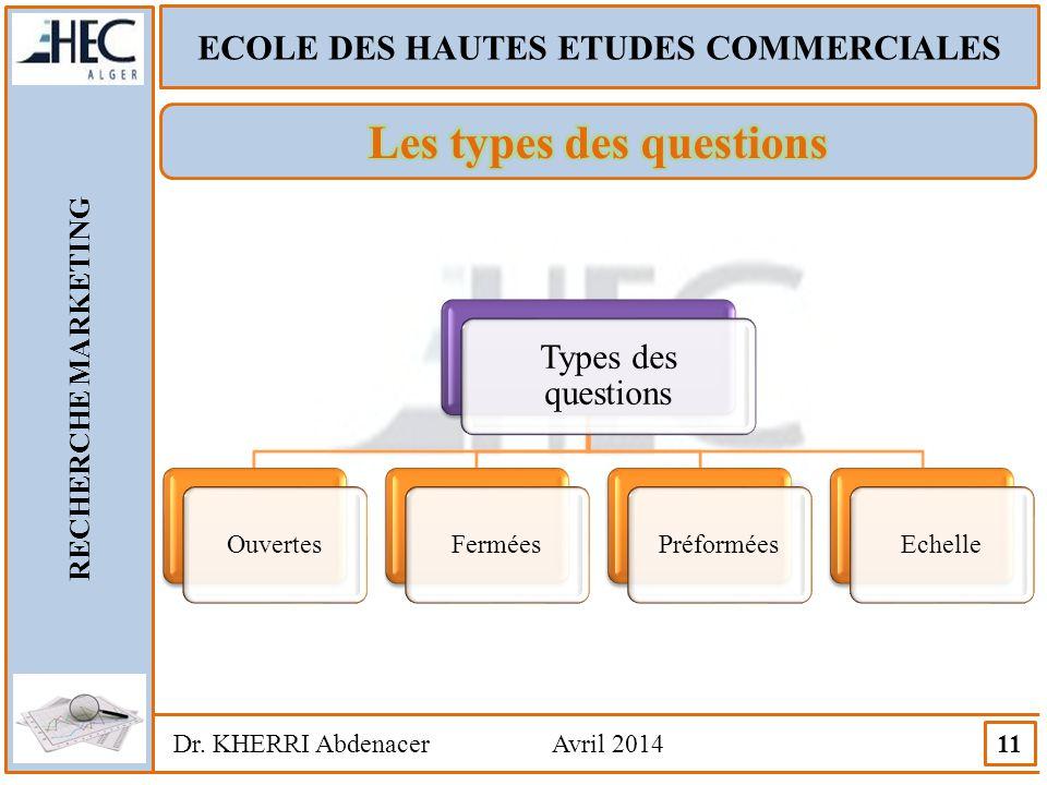 ECOLE DES HAUTES ETUDES COMMERCIALES RECHERCHE MARKETING Dr. KHERRI Abdenacer Avril 2014 11 Types des questions OuvertesFerméesPréforméesEchelle