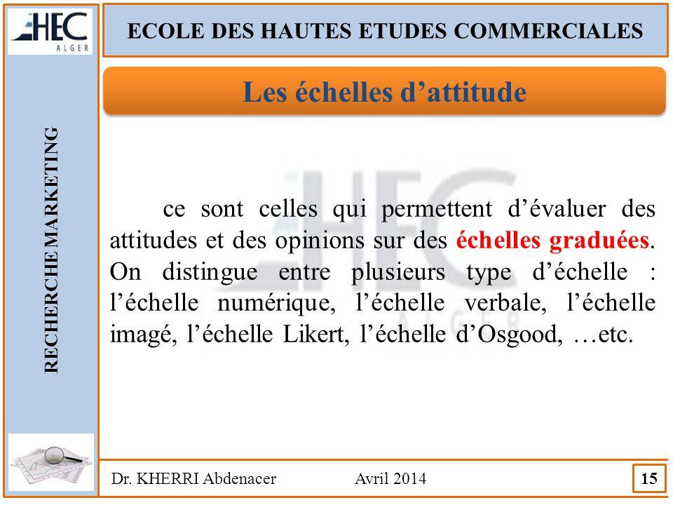 ECOLE DES HAUTES ETUDES COMMERCIALES RECHERCHE MARKETING Dr. KHERRI Abdenacer Avril 2014 15 Les échelles d'attitude ce sont celles qui permettent d'év