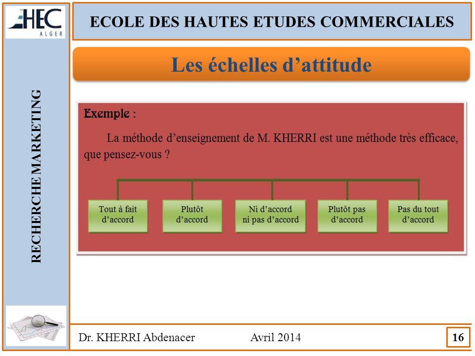 ECOLE DES HAUTES ETUDES COMMERCIALES RECHERCHE MARKETING Dr. KHERRI Abdenacer Avril 2014 16 Les échelles d'attitude