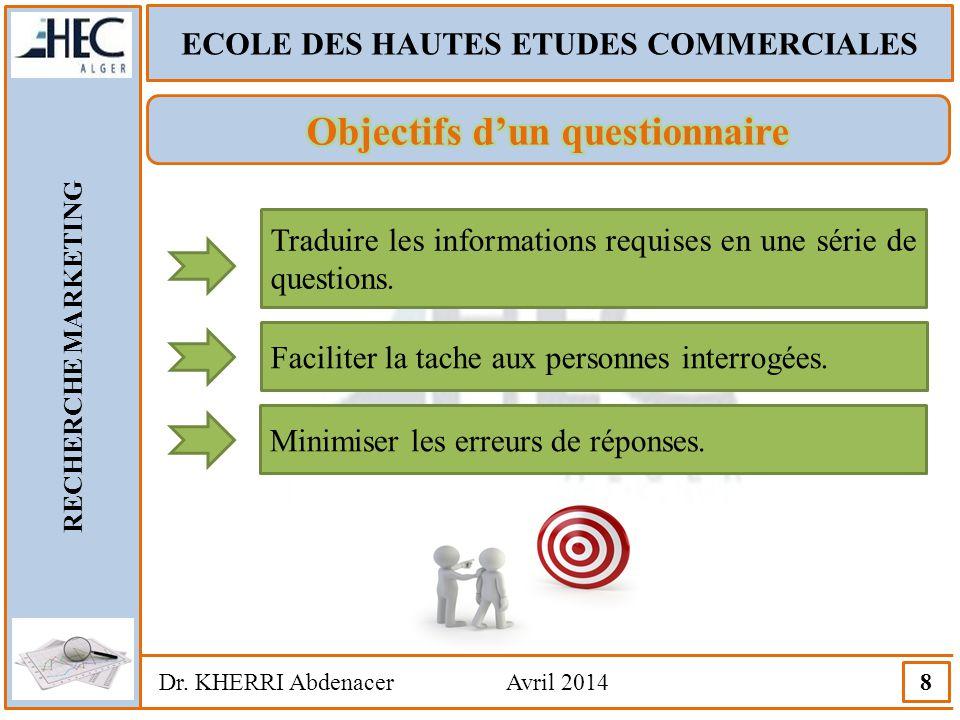 ECOLE DES HAUTES ETUDES COMMERCIALES RECHERCHE MARKETING Dr. KHERRI Abdenacer Avril 2014 8 Traduire les informations requises en une série de question