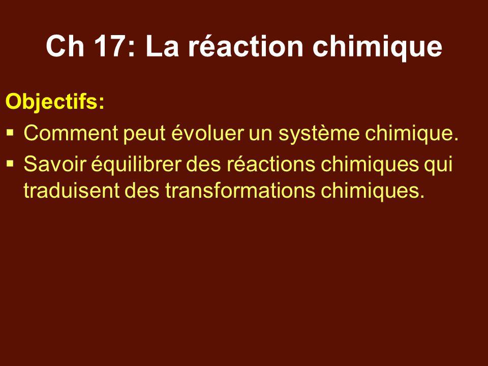 Ch 17: La réaction chimique Objectifs:  Comment peut évoluer un système chimique.  Savoir équilibrer des réactions chimiques qui traduisent des tran