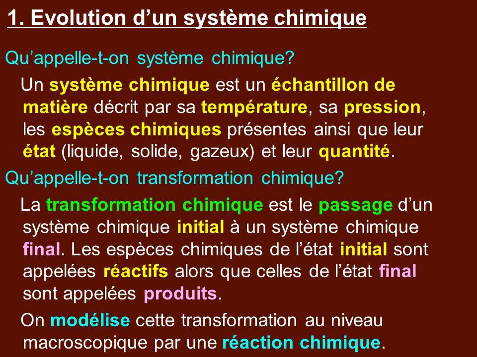 1. Evolution d'un système chimique Qu'appelle-t-on système chimique? Un système chimique est un échantillon de matière décrit par sa température, sa p