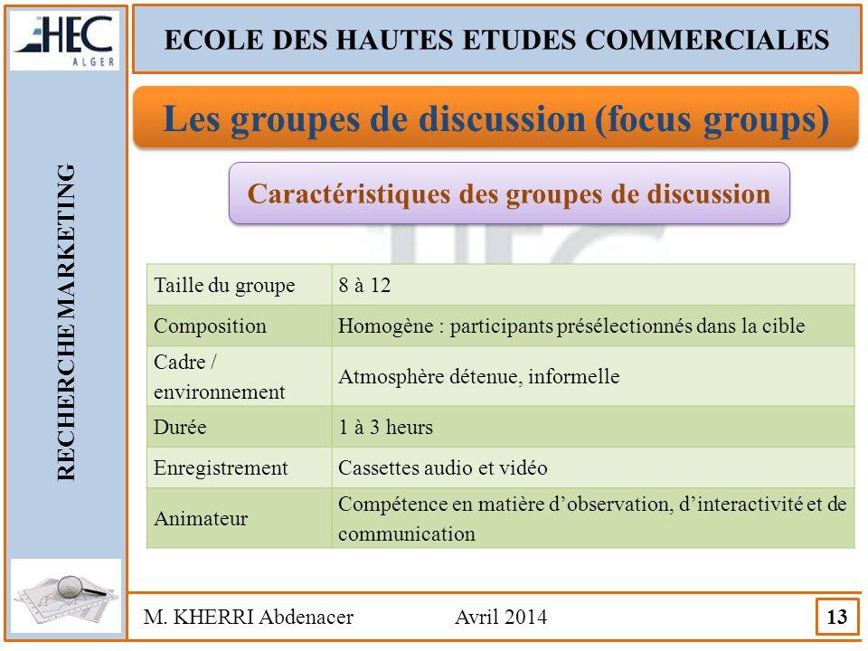 ECOLE DES HAUTES ETUDES COMMERCIALES RECHERCHE MARKETING M. KHERRI Abdenacer Avril 2014 13 Les groupes de discussion (focus groups) Caractéristiques d