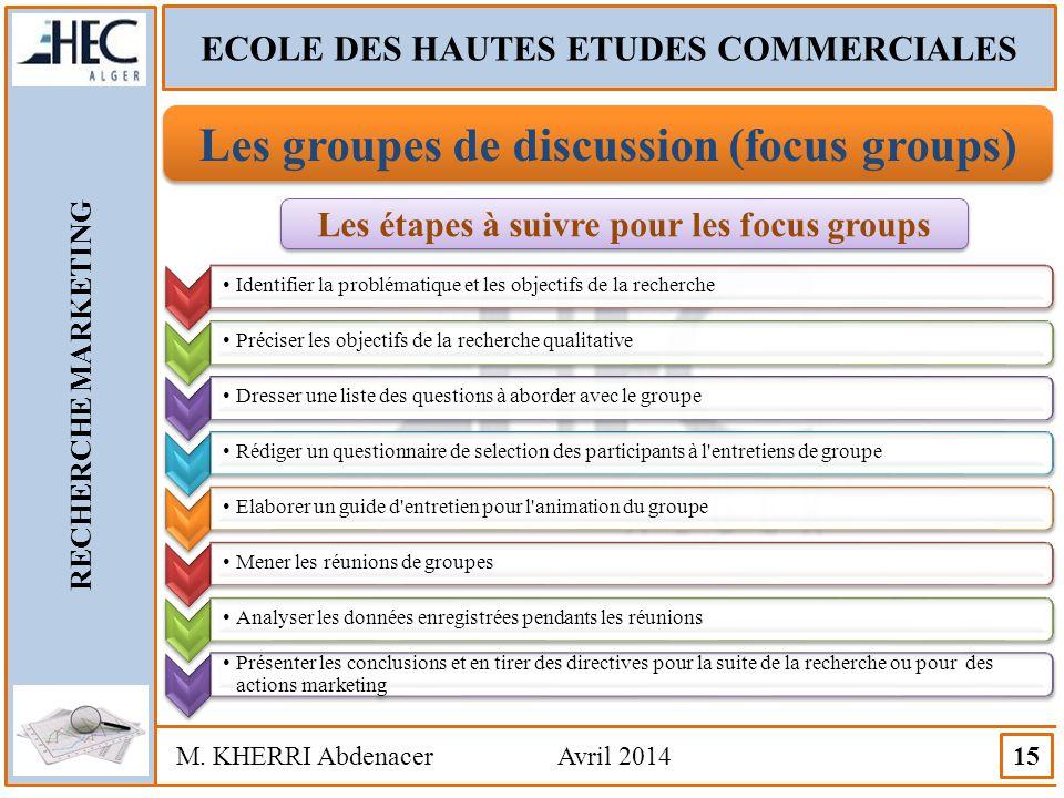 ECOLE DES HAUTES ETUDES COMMERCIALES RECHERCHE MARKETING M. KHERRI Abdenacer Avril 2014 15 Les groupes de discussion (focus groups) Les étapes à suivr