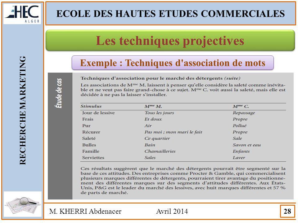 ECOLE DES HAUTES ETUDES COMMERCIALES RECHERCHE MARKETING M. KHERRI Abdenacer Avril 2014 28 Les techniques projectives Exemple : Techniques d'associati