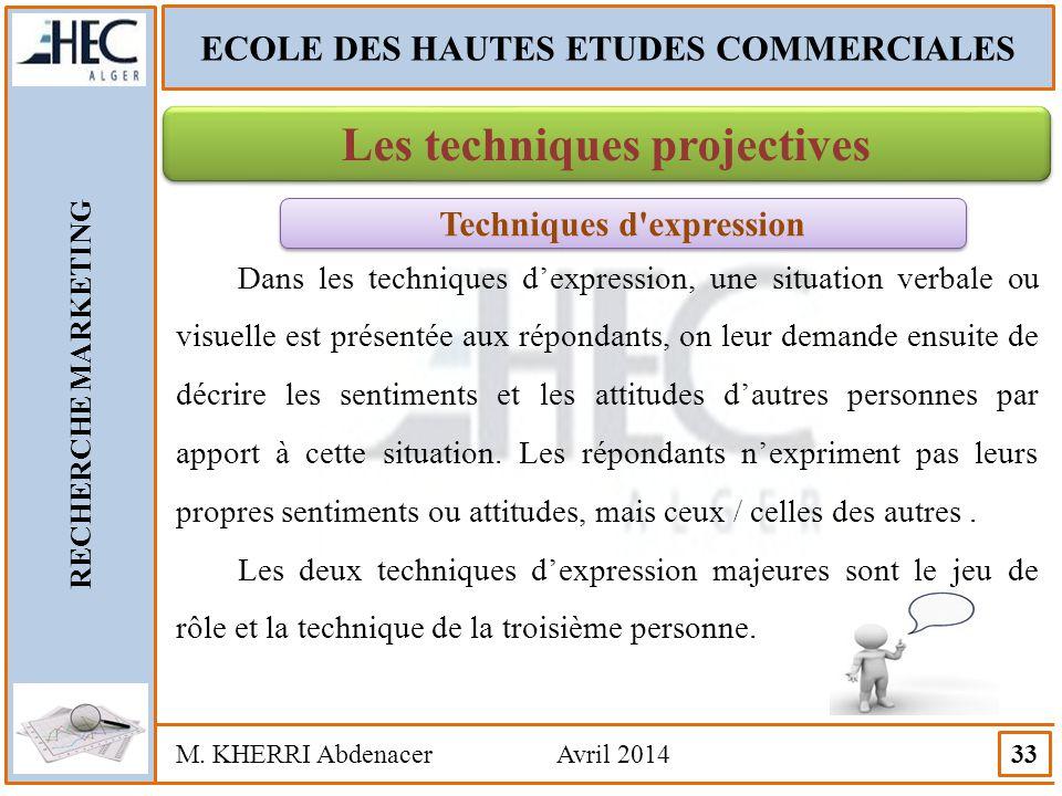ECOLE DES HAUTES ETUDES COMMERCIALES RECHERCHE MARKETING M. KHERRI Abdenacer Avril 2014 33 Les techniques projectives Techniques d'expression Dans les