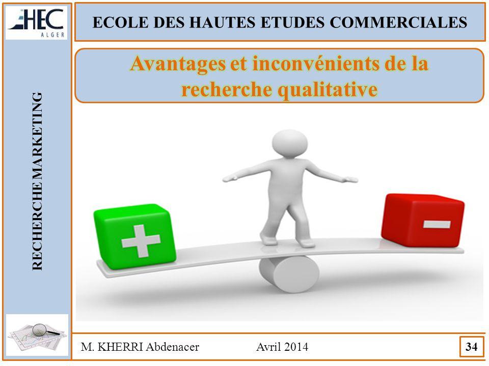 ECOLE DES HAUTES ETUDES COMMERCIALES RECHERCHE MARKETING M. KHERRI Abdenacer Avril 2014 34