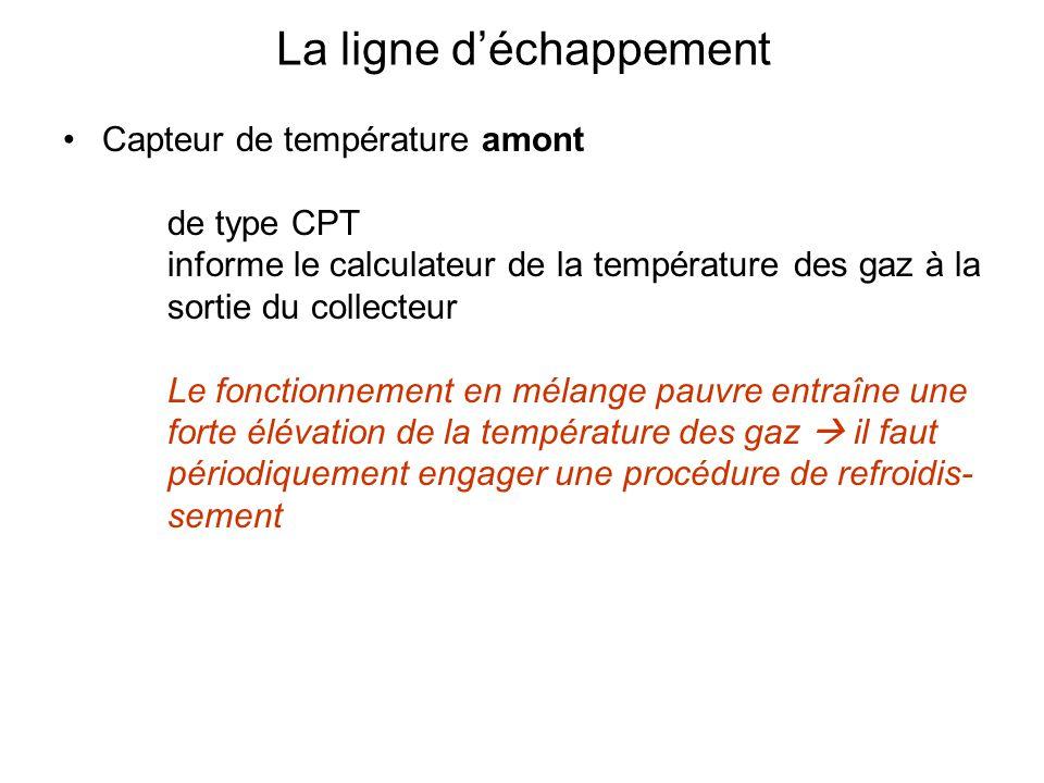 Capteur de température amont de type CPT informe le calculateur de la température des gaz à la sortie du collecteur Le fonctionnement en mélange pauvre entraîne une forte élévation de la température des gaz  il faut périodiquement engager une procédure de refroidis- sement