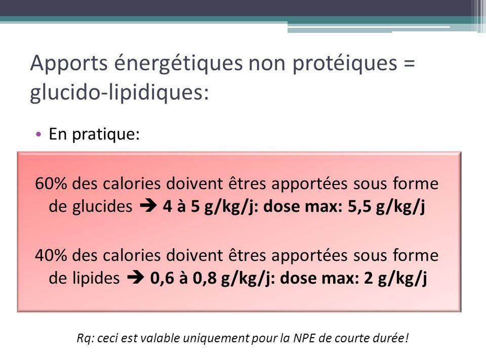 Apports énergétiques non protéiques = glucido-lipidiques: En pratique: 60% des calories doivent êtres apportées sous forme de glucides  4 à 5 g/kg/j: