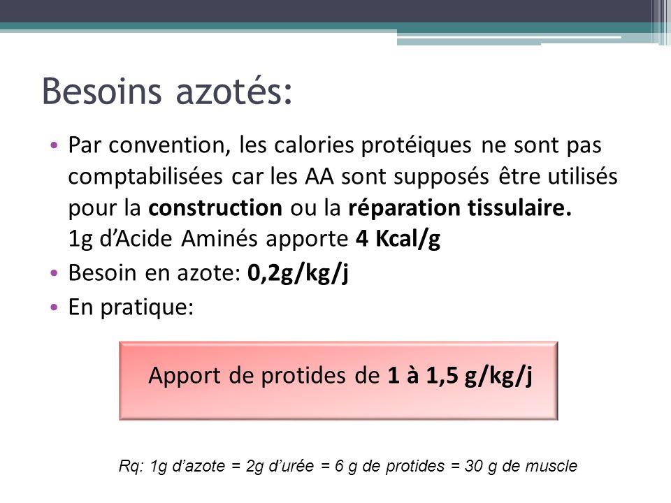 Besoins azotés: Par convention, les calories protéiques ne sont pas comptabilisées car les AA sont supposés être utilisés pour la construction ou la r