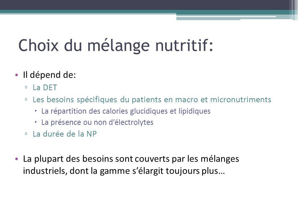 Choix du mélange nutritif: Il dépend de: ▫ La DET ▫ Les besoins spécifiques du patients en macro et micronutriments  La répartition des calories gluc
