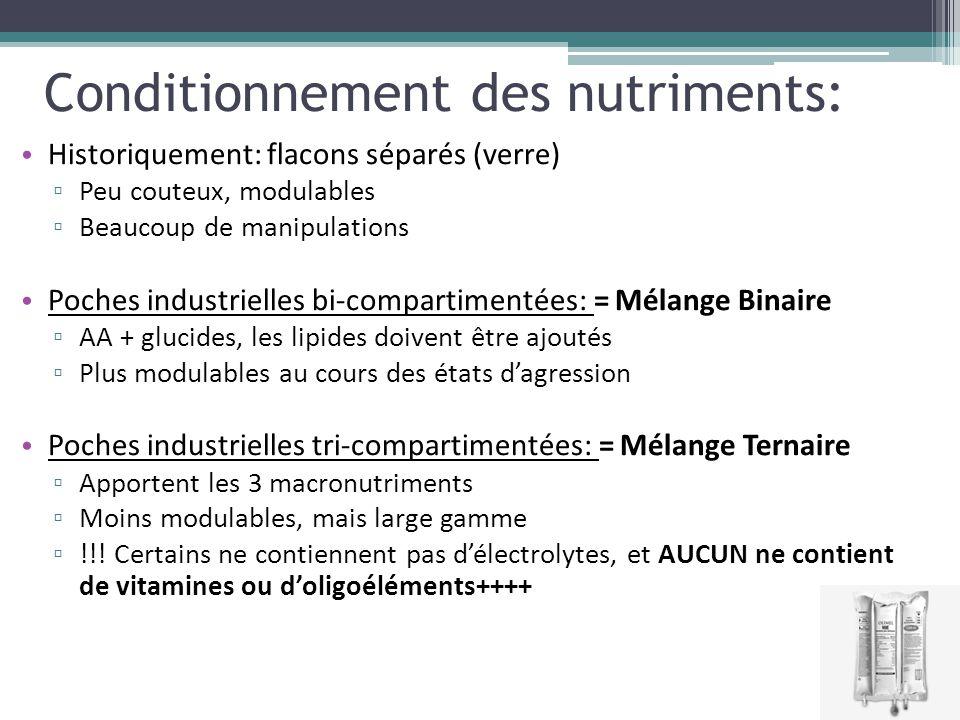 Conditionnement des nutriments: Historiquement: flacons séparés (verre) ▫ Peu couteux, modulables ▫ Beaucoup de manipulations Poches industrielles bi-