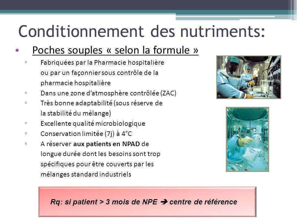 Conditionnement des nutriments: Poches souples « selon la formule » ▫ Fabriquées par la Pharmacie hospitalière ou par un façonnier sous contrôle de la